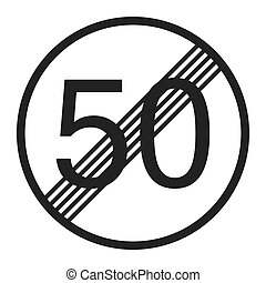 End maximum speed limit 50 sign line icon