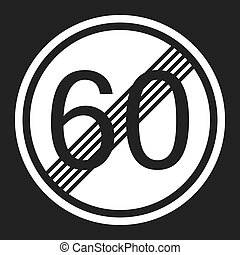 End maximum speed limit 60 sign flat icon