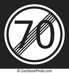End maximum speed limit 70 sign flat icon