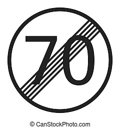 End maximum speed limit 70 sign line icon