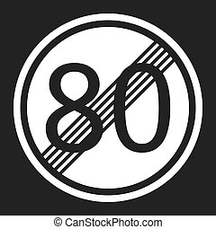 End maximum speed limit 80 sign flat icon