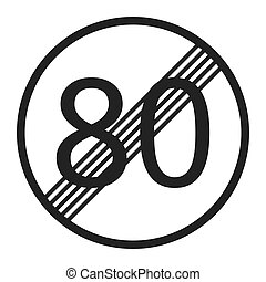 End maximum speed limit 80 sign line icon