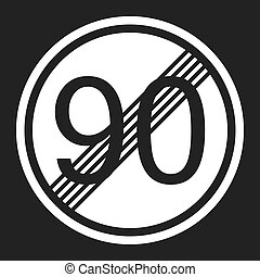 End maximum speed limit 90 sign flat icon