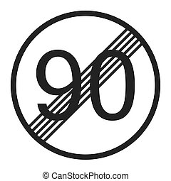 End maximum speed limit 90 sign line icon