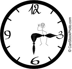 End of a working day / stick figure sitting happily on indicator pointing at six o' clock