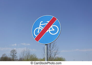End of bike path traffic sign.