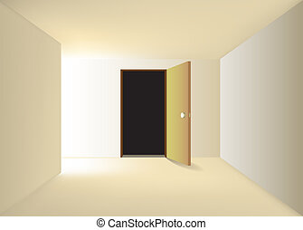 end of corridor turning left and opened door - illustration