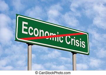 End Of Economic Crisis Green Road Sign, Against Light Cloudscape Sky