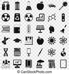 End of education icons set, simple style