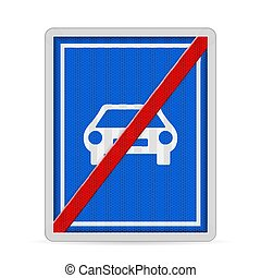 End of motor road sign