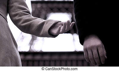 End of relationship between man and woman, hands of breakup couple, divorce