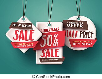 End of season Christmas sale vector set of red sale tags hanging