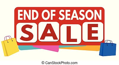 End of season sale banner or label for business promotion