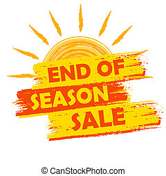 end of season sale with summer sun sign, yellow and orange...