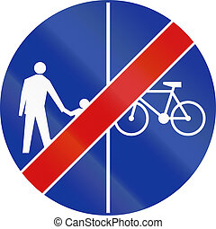 End Of Shared Use Path With Separate Lanes in Poland
