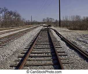 End of the line - Railroad tracks end in pile of gravel &...