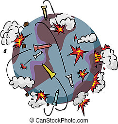 Nations around the world destroy each other with missle attacks