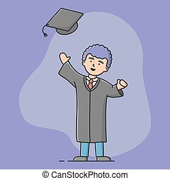 End Of University Courses And Graduation Concept. Cheerful Student Celebrate Academic Trainings End. Man In Academic Dress Is Throwing Up Cap. Cartoon Linear Outline Flat Style. Vector Illustration