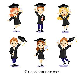 End Of University Courses And Graduation Concept. Set Of Happy Smiling Students Boys And Girls In Academic Dresses Standing Together, Throwing Hats In The Air. Cartoon Flat Style. Vector Illustration