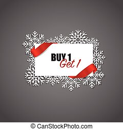 End of year sale, Christmas sale design template. Sale Coupon, voucher, tag. Vector illustration.
