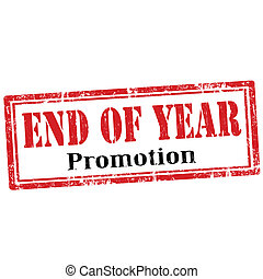 End Of Year-stamp - Grunge rubber stamp with text End Of...