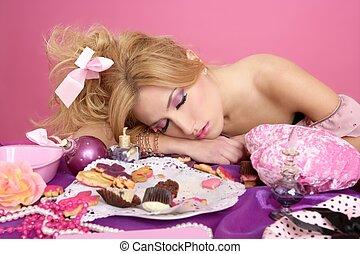 end party pink princess barbie fashion woman sleeping on...