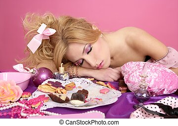 end party pink princess barbie fashion woman sleeping on ...