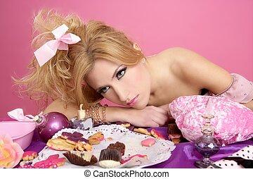 end party pink princess barbie fashion woman tired