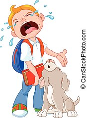End Summer Break - Illustration of crying boy with dog...