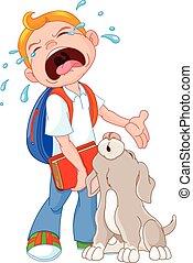 End Summer Break - Illustration of crying boy with dog...