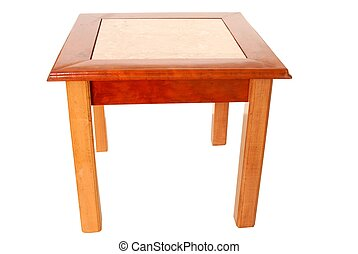 End Table - Isolated cherry, oak, and marble end table