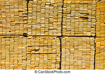 End view of stacked lumber