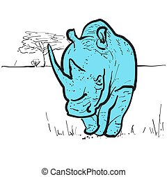 Endangered rhino in savannah