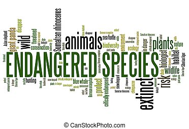 Endangered species - environment issues and concepts word cloud illustration. Word collage concept.