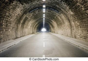 ende, punkt, tunnel, licht, dunkel, verschwinden