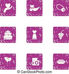 Endearment icons set. Grunge set of 9 endearment vector icons for web isolated on white background