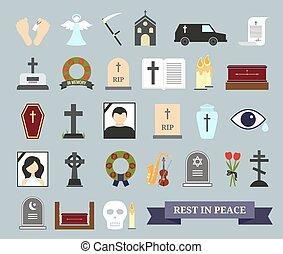 endeligt, begravelse, ritual, farvet, iconerne