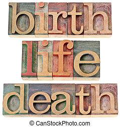 endeligt, liv, fødsel, gloser