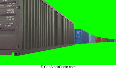 Endless Abstract Containers Moving on Green Screen. Looped...
