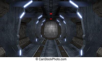 Endless corridor with sci-fi interior - A corridor with...