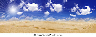 Endless desert and clouds on sky