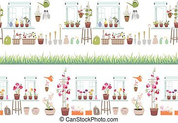 Endless horizontal border with gardening tools. Seamless pattern brush with growing grass.
