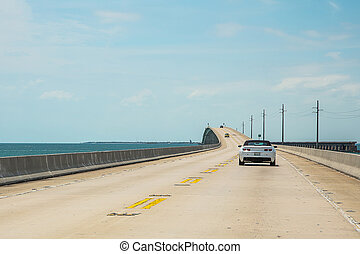 Endless infinite road from Miami to Key West across the Atlantic ocean
