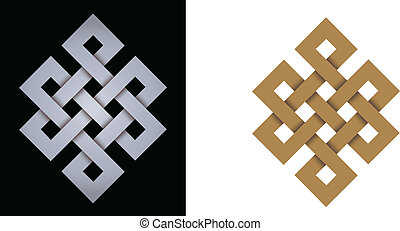 Endless knot auspicious symbol of eternity, on black background or isolated
