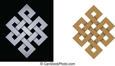 Endless knot auspicious symbol of eternity, on black...