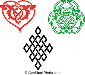 Endless knots variations in heart, rhomb and circle shapes