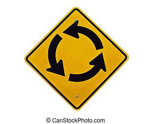 Endless Loop - Endless traffic circle loop caution sign.