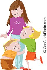 Endless love - Children are embracing each other with love
