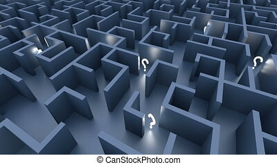 Endless maze with blue walls and illuminated question marks