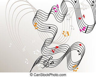 endless melody - Stylish background with stave and colorful ...